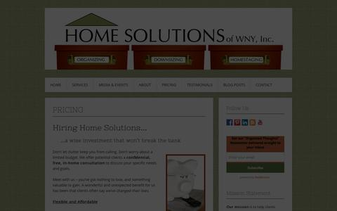 Screenshot of Pricing Page homesolutionswny.com - Pricing | Home Solutions of WNY, Inc. - captured Jan. 31, 2016