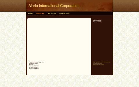 Screenshot of Services Page alariointl.com - Alario International Corporation - Services - captured Oct. 4, 2014