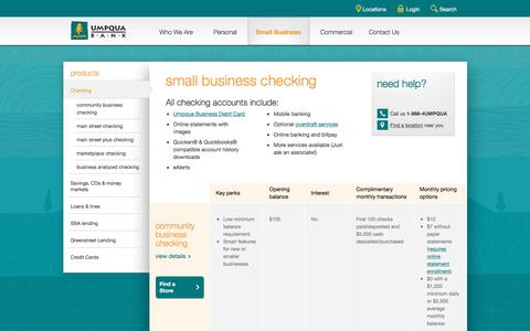 Umpqua Bank small business checking -- business banking