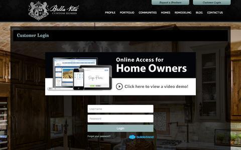 Screenshot of Login Page livingbellavita.com - Builder Trend Login - captured Feb. 7, 2016