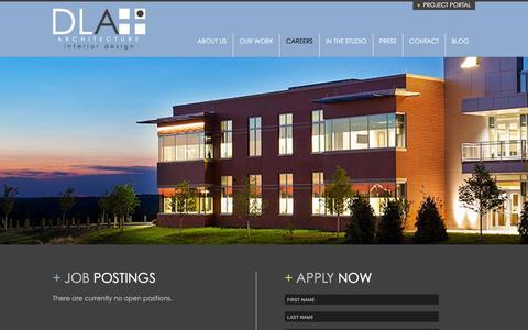 Screenshot of Jobs Page dlaplus.com - Careers | DLA+ Architecture & Interior Design - captured Feb. 6, 2016
