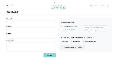 Screenshot of Contact Page malababa.com - Contact Us Malababa - captured July 22, 2016
