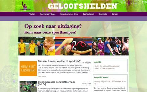 Screenshot of Home Page geloofshelden.nl - Welkom -  Geloofshelden in Amerongen - captured July 19, 2015