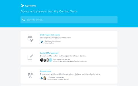 Screenshot of Support Page continu.co - Continu Help Center - captured July 2, 2019
