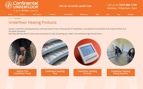Screenshot of Products Page ufh.co.uk - Underfloor Heating System Products | Continental UFH - captured Nov. 11, 2016