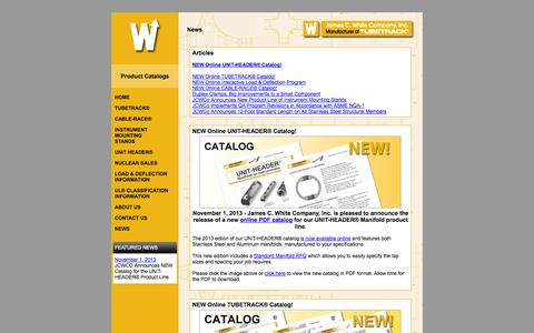 Screenshot of Press Page jcwco.com - Product News | TUBETRACK®, CABLE-RACE®, IM Stands, and UNIT HEADER® - captured Oct. 6, 2014