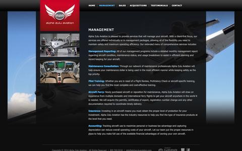 Screenshot of Team Page alphazuluaviation.com - Management |  Alpha Zulu Aviation - captured Sept. 30, 2014