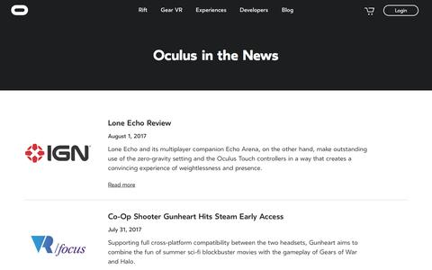 Screenshot of Press Page oculus.com - News | Oculus - captured Oct. 2, 2017