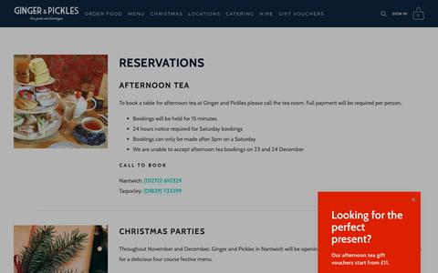 Screenshot of Locations Page gingerandpickles.co.uk - Reservations for Ginger and Pickles Nantwich and Tarporley | Ginger and Pickles Tea Rooms - captured Dec. 8, 2018