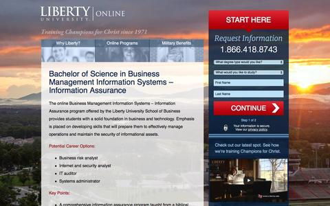 Screenshot of Landing Page liberty.edu - Liberty University Online | Bachelor of Science in Business Management Information Systems – Information Assurance - captured Aug. 23, 2016