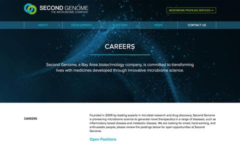 Screenshot of Jobs Page secondgenome.com - Second Genome | Careers - captured Jan. 31, 2017