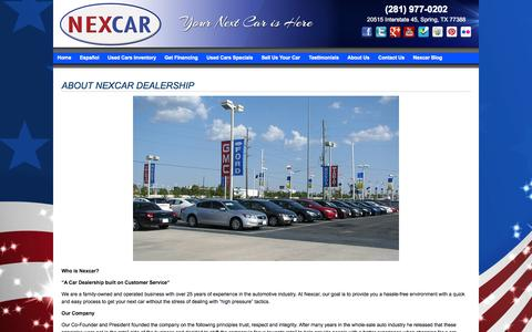 Screenshot of About Page nexcarauto.com - About Us | Used cars for sale in Houston TX - captured Nov. 3, 2014