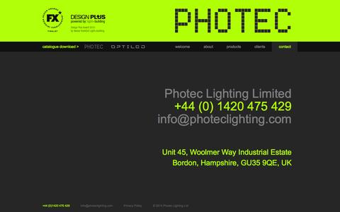 Screenshot of Contact Page photeclighting.com - Contact Photec Lighting |Specialist LED Developer and Supplier - captured Sept. 29, 2014