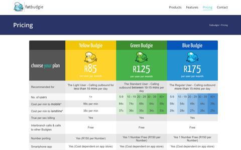 Screenshot of Pricing Page fatbudgie.co.za - Pricing   Fatbudgie - captured Sept. 23, 2014