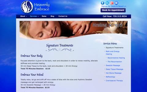 Screenshot of Services Page heavenlyembrace.com - Services « Heavenly Embrace Massage in Boulder, CO Heavenly Embrace Massage in Boulder, CO - captured Sept. 29, 2014