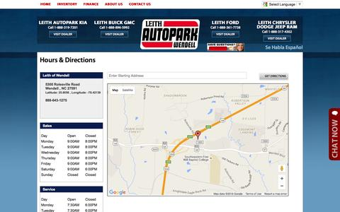 Screenshot of Hours Page leithwendell.com - Leith Autopark Wendell - Hours & Directions - captured Jan. 28, 2016