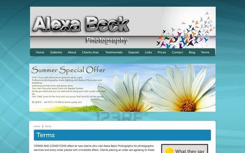 Screenshot of Terms Page alexabeckphotography.com - Terms | Alexa Beck Photography - captured Sept. 30, 2014