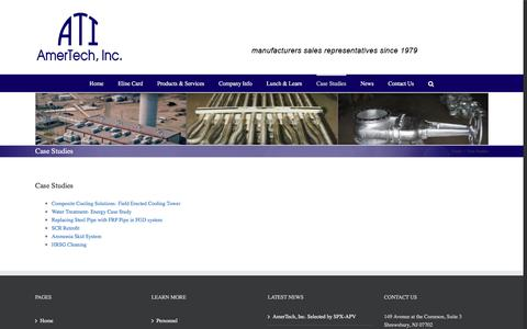 Screenshot of Case Studies Page amertechinc.com - Case Studies – Amertech, Inc. - captured July 25, 2016