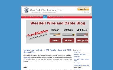 Screenshot of Blog wesbellwireandcable.com - Electrical Wire Supplier, Tray Cable, Power Cable, MIL SPEC Wires, Solid Core Copper - captured Oct. 26, 2014
