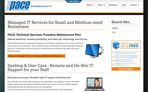 Screenshot of Services Page pacetechnical.com - Services - Pace Technical Services | Pace Technical Services - captured Nov. 1, 2014