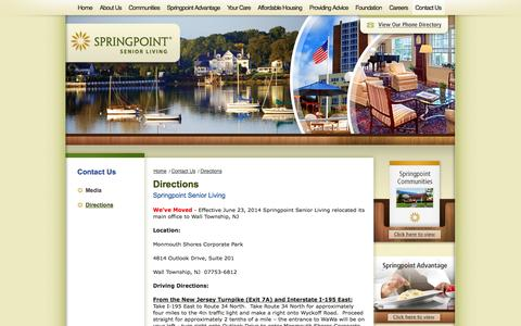 Screenshot of Maps & Directions Page springpointsl.org - Directions | Springpoint Senior Living - captured Oct. 6, 2014