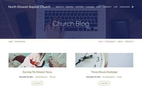 Screenshot of Blog northetowah.org - Church Blog – North Etowah Baptist Church - captured Nov. 30, 2016