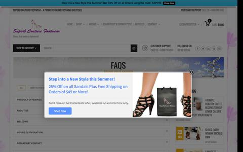 Screenshot of FAQ Page superbfootwear.com - Faqs | Superb Footwear - captured Sept. 23, 2015