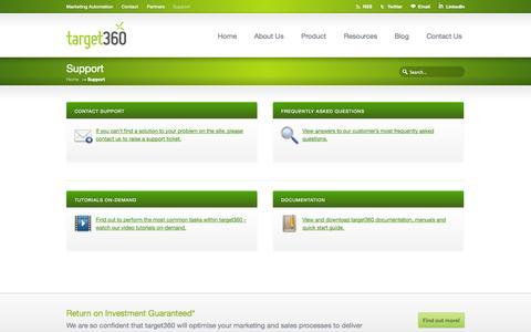 Screenshot of Support Page target360.com - target360 support - captured Oct. 1, 2014
