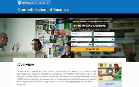Screenshot of Landing Page bentley.edu - Graduate School of Business | Bentley University - captured Oct. 27, 2014