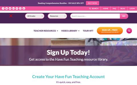 Screenshot of Signup Page havefunteaching.com - Sign Up | Have Fun Teaching - captured Sept. 27, 2018