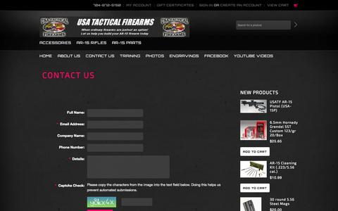 Screenshot of Contact Page usatf.us - USA Tactical Firearms Contact Us - captured Oct. 26, 2014