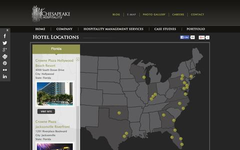 Screenshot of Maps & Directions Page chesapeakehospitality.com - Hotel Properties and Portfolio Maps - captured Dec. 8, 2015