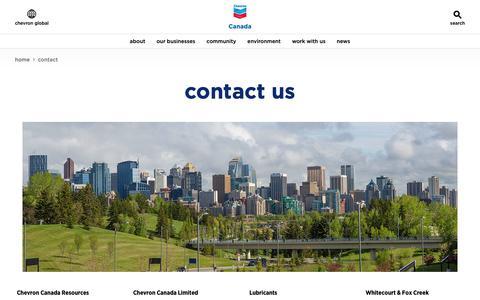 Screenshot of Contact Page chevron.com - Contact us - Canada.chevron.com — Chevron.com - captured Oct. 22, 2018