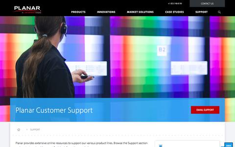 Screenshot of Support Page planar.com - Planar Support   Planar - captured Nov. 7, 2017