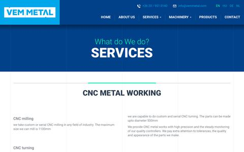 Screenshot of Services Page vemmetal.com - VEM Metal Ltd. - CNC metal working - captured Sept. 20, 2018