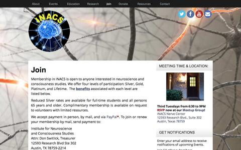 Screenshot of Signup Page inacs.org - INACS | Join - captured Nov. 26, 2016