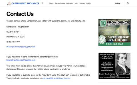 Screenshot of Contact Page caffeinatedthoughts.com - Contact Us   Caffeinated Thoughts - captured Nov. 4, 2018