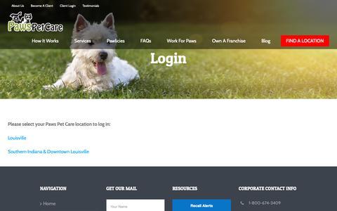 Screenshot of Login Page pawspetcareathome.com - Login | Paws Pet Care - captured Sept. 27, 2018