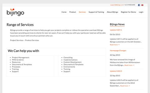 Screenshot of Services Page bijingo.com - Services: Range | bijingo.com - captured Jan. 3, 2016