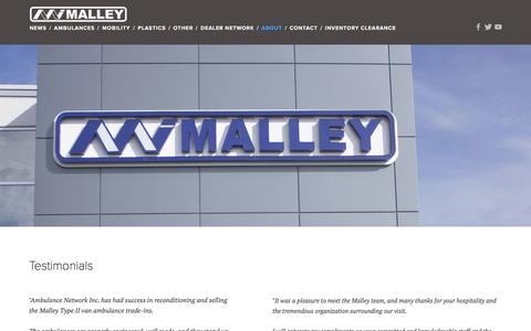 Screenshot of Testimonials Page malleyindustries.com - Testimonials — Malley Industries Inc. - captured Nov. 19, 2016