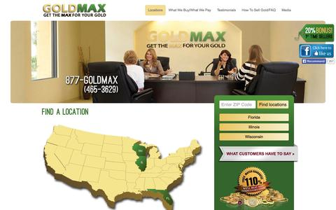 Screenshot of Locations Page goldmaxusa.com - Where To Sell Gold, Gold To Sell, Sell Silver, Coins Value, Appraisals - captured Sept. 19, 2014