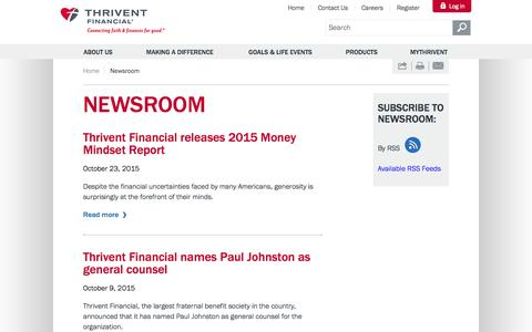 Screenshot of Press Page thrivent.com - Thrivent Financial News, Media Contacts & Interview Sources - captured Nov. 17, 2015