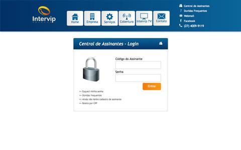 Screenshot of Login Page intervip.com.br - Login - Intervip - Banda larga de verdade - captured Oct. 8, 2014