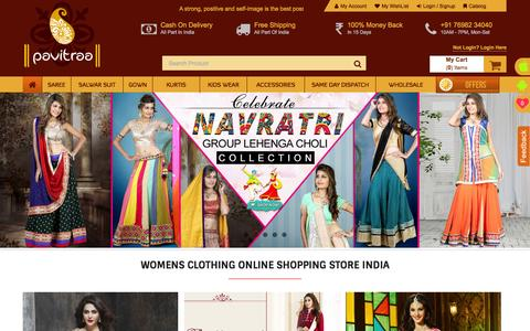 Screenshot of Home Page pavitraa.in - Women clothing online shopping site India | Buy Online Women Saree & Salwar Suits at Pavitraa.in - captured Oct. 1, 2015