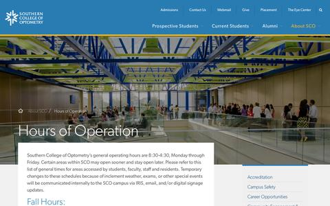 Screenshot of Hours Page sco.edu - Hours of Operation   Southern College of Optometry - captured Oct. 23, 2017