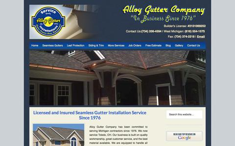 Screenshot of Home Page alloygutter.com - Seamless Gutters and Leaf Protection Expert — Alloy Gutter - captured Oct. 4, 2014