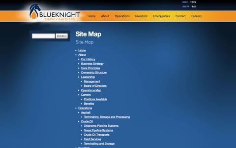 Screenshot of Site Map Page publishpath.com - Site Map - Blueknight Energy Partners - captured Sept. 17, 2014
