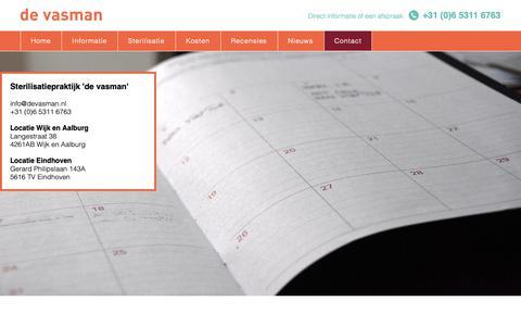 Screenshot of Contact Page devasman.nl - de vasman | Contact - captured Oct. 24, 2018