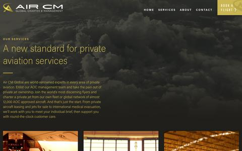 Screenshot of Services Page aircm.aero - Air CM Global | Private Jet Charter & Management | Services | Air CM Global - captured Oct. 7, 2017