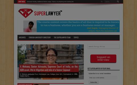 Screenshot of Home Page superlawyer.in - SuperLawyer � share your career experience and professional insights with law students and lawyers | Curating career insights for lawyers and law students, one interview at a time - captured Jan. 12, 2016
